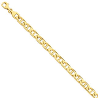 Versil 14k Yellow Gold 9mm Hand-polished Anchor Link Chain