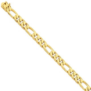 Versil 14k Yellow Gold 9mm Hand-polished Figaro Link Chain