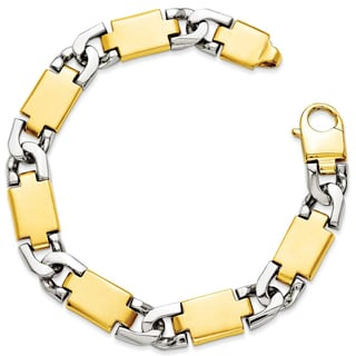 Versil 14k Yellow Gold Two-tone Polished Gold Fancy Link Bracelet