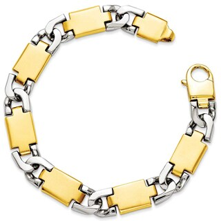 Versil 14 Karat Yellow Gold Two-tone Polished Gold Fancy Link Bracelet