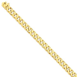 Versil 14k Yellow Gold 9.8mm Hand-polished Flat Beveled Curb Chain