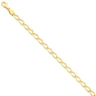 Versil 14k Yellow Gold 6mm Hand-polished Open Link Chain