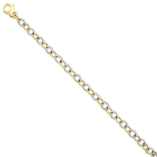 Versil 14k Two-tone Gold 6.5mm Fancy Link Chain