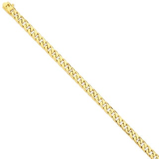 Versil 14k Yellow Gold 6.8mm Hand-polished Flat Beveled Curb Chain