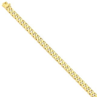 Versil 14k Yellow Gold 7.8mm Hand-polished Flat Beveled Curb Chain