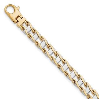 Versil 14k Two-tone Gold 7.95mm Polished Fancy Link Bracelet