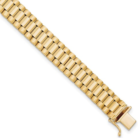 14K Yellow Gold Polished and Satin 8 Inch Men's Bracelet by Versil