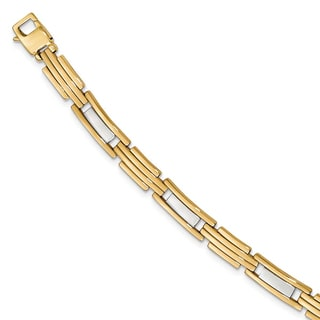 Versil 14 Karat Yellow Gold Two-tone Polished Bracelet