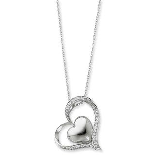 Versil Sterling Silver and Cubic Zirconia In My Heart Necklace