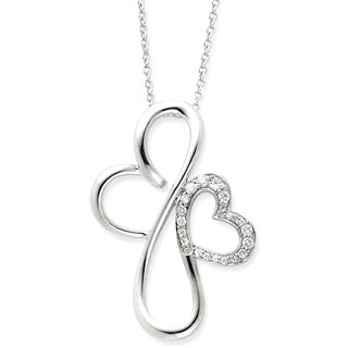 Versil Sterling Silver and Cubic Zirconia Everlasting Love Necklace
