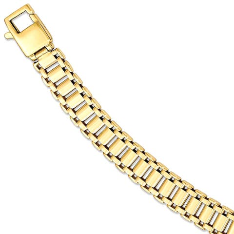 14K Yellow Gold High Polished Link 8.5 Inch Bracelet by Versil