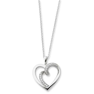 Versil Sterling Silver and Cubic Zirconia Two Souls Lived As One Heart Necklace