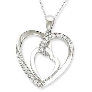 Versil Sterling Silver Cubic Zirconia My Heart To Yours Necklace