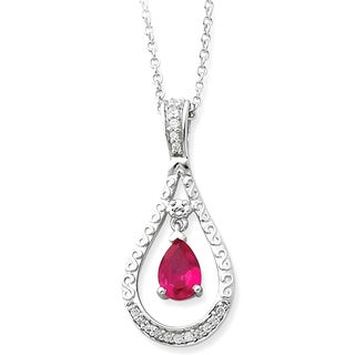 Versil Sterling Silver Cubic Zirconia Stone Never Forget Birthstone Necklace
