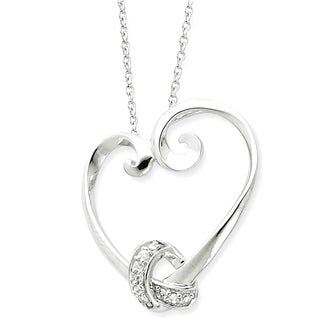 Versil Sterling Silver and Cubic Zirconia Loveknots Heart Necklace