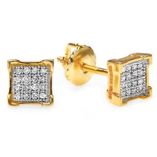 18k Yellow Goldplated Sterling Silver Men's 1/10ct TDW Diamond Square Hip Hop Iced Stud Earrings (I-J, I2-I3)