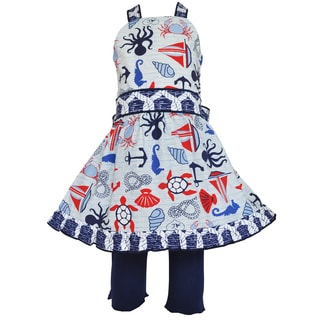 Ann Loren Girl's Boutique Nautical Halter Dress and Legging Outfit