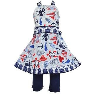 Ann Loren Girl's Boutique Nautical Halter Dress and Legging Outfit