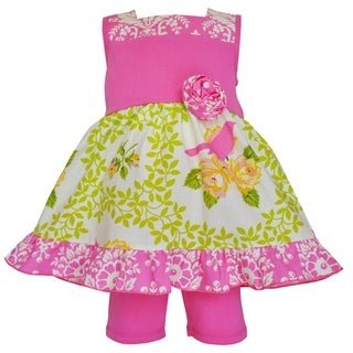 Ann Loren Girl's Boutique Gina Spring Birds Dress and Shorts Outfit