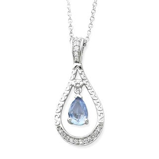 Versil Sterling Silver Cubic Zirconia Stone Never Forget Tear Birthstone Necklace