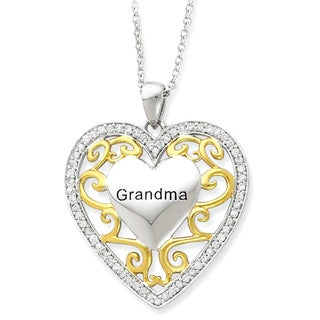 Versil Sterling Silver and Goldplated Grandma Heart Necklace
