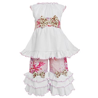 Ann Loren Girl's Boutique Shabby Floral Tunic and Capri Outfit