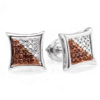 Elora Sterling Silver 1/10ct TDW Red and White Diamond Pave Stud Earrings (I-J & Red, I2-I3)