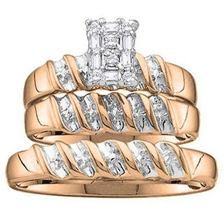 Elora 10k Rose Gold His and Hers 1/6ct TDW Diamond Trio Ring Set (H-I, I1-I2)
