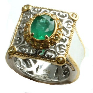 Michael Valitutti Silver Emerald & Yellow Sapphire Ring