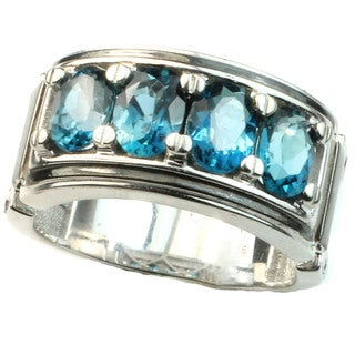 Michael Valitutti Palladium Silver Men's London Blue Topaz Ring