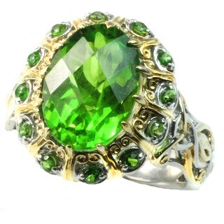 Michael Valitutti 18kyv Peridot Quartz and Chrome Diopside Ring