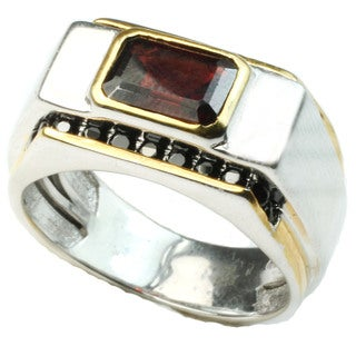 Michael Valitutti Emerald Mozambique Garnet & Blk Spinel men's ring