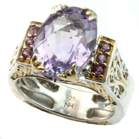 Michael Valitutti 22x15mm Pink amethyst Ring w/rhodolites