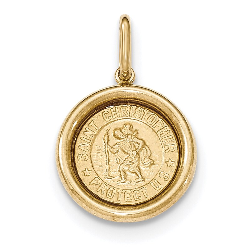 St Christopher Engravable Medal 14kt Yellow or White Gold Pendant 9 Sizes