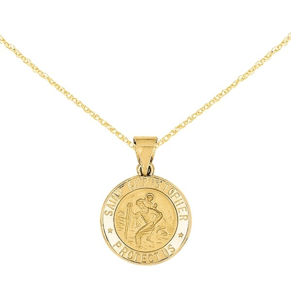 Versil 14k Yellow Gold Polished St. Christopher Medal Pendant with 18-inch Chain