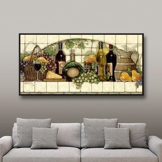 ArtWall Janet Kruskamp's Wine, Fruit 'n Cheese, Gallery Wrapped Floater-framed Canvas