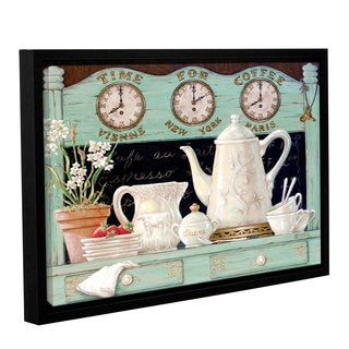 ArtWall Janet Kruskamp's Time For Coffee, Gallery Wrapped Floater-framed Canvas