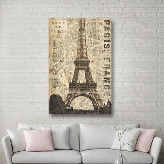 ArtWall Michael Mullan's Vintage Eiffel Tower, Gallery Wrapped Canvas