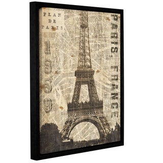 ArtWall Michael Mullan's Vintage Eiffel Tower Gallery-wrapped Floater-framed Canvas Print