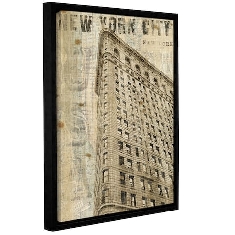 ArtWall Michael Mullan's Vintage NY Flatiron, Gallery Wrapped Floater-framed Canvas