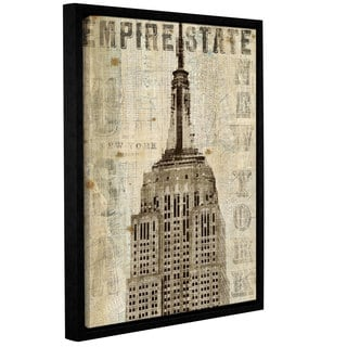 ArtWall Michael Mullan's Vintage Empire State Building, Gallery Wrapped Floater-framed Canvas