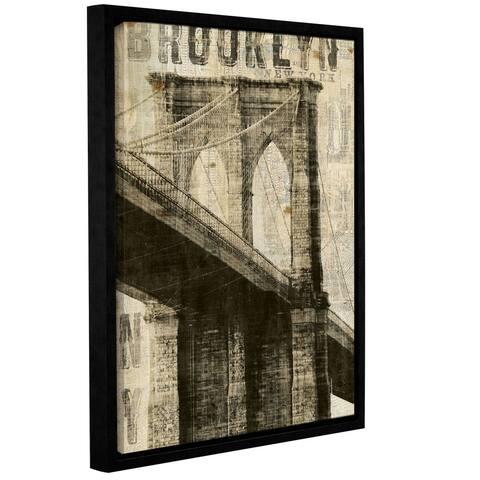 ArtWall Michael Mullan's Vintage Brooklyn Bridge, Gallery Wrapped Floater-framed Canvas - Multi