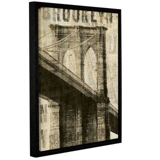 ArtWall Michael Mullan's Vintage Brooklyn Bridge, Gallery Wrapped Floater-framed Canvas
