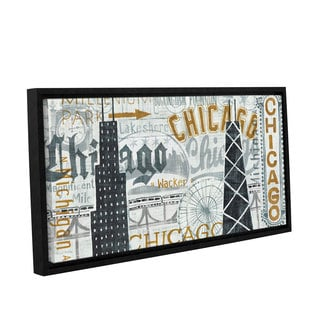 ArtWall Michael Mullan's Hey Chicago Vintage, Gallery Wrapped Floater-framed Canvas
