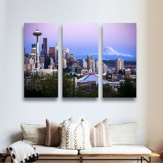 ArtWall Cody York's Seattle and Mt. Rainier 2, 3 Piece Gallery Wrapped Canvas Set