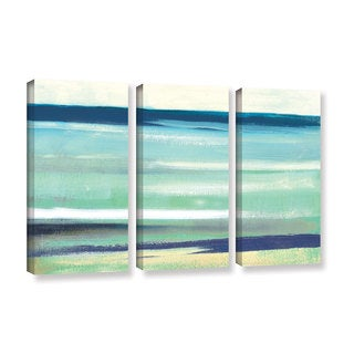 ArtWall Pied Piper's Cool Ocean Abstract, 3 Piece Gallery Wrapped Canvas Set
