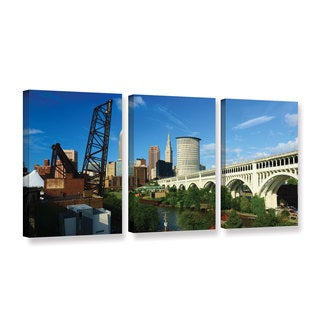 ArtWall Cody York's Cleveland 11, 3 Piece Gallery Wrapped Canvas Set