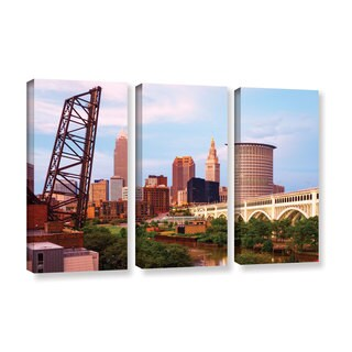 ArtWall Cody York's Cleveland 10, 3 Piece Gallery Wrapped Canvas Set