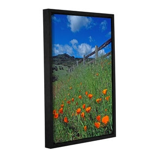 ArtWall Kathy Yates's Poppies and the Fence, Gallery Wrapped Floater-framed Canvas