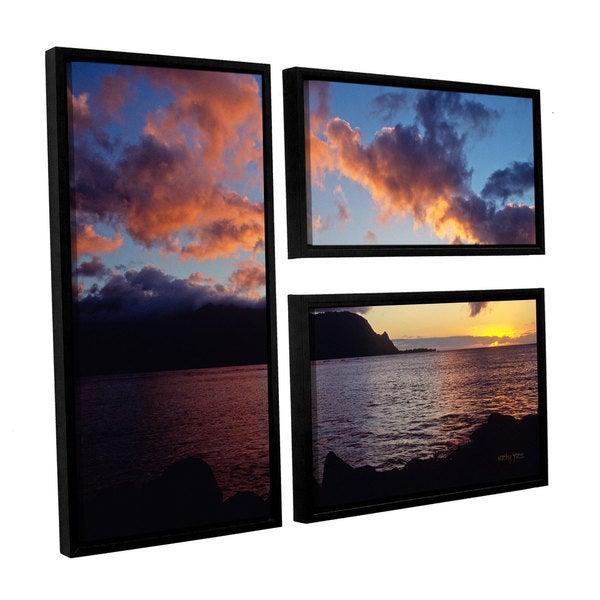 ArtWall Kathy Yates's Last Light Over Bali Hai, 3 Piece Floater Framed Canvas Flag Set - Multi